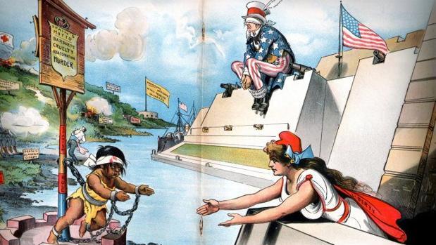 Propaganda cartoon by Grant E. Hamilton depicting Cuban oppression and US passivity