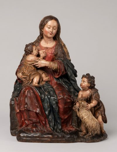 Luisa Roldán. Virgin and Child with Saint John the Baptist. Between 1689 and 1706. Earthenware and polychrome 41,5 x 33 x 25,5 cm. Inv. No. CE2966
