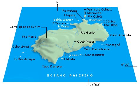 Sketch of Cocos Island. Most of the island's place names are in