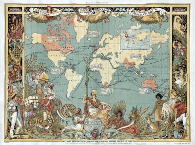 Map from the 19th century showing the robbery and murder missions committed by England in various parts of the world.