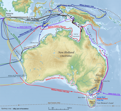 Map of European exploration of Australia in the years before 1813